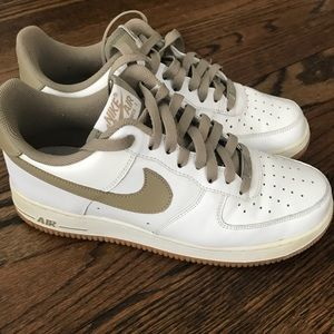 White and tan Nike airforce1